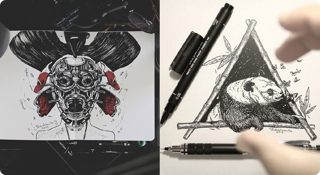 Découvrez les illustrations à l'encre noir de Joseph Catimbang
