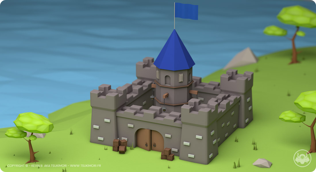 Château et Arbre en Low Poly