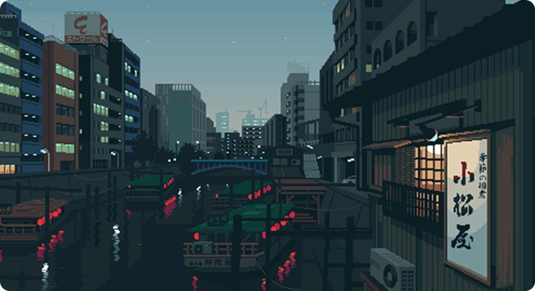 La vie courante japonaise en Pixel Art